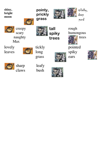 Where the Wild Things Are vocabulary work