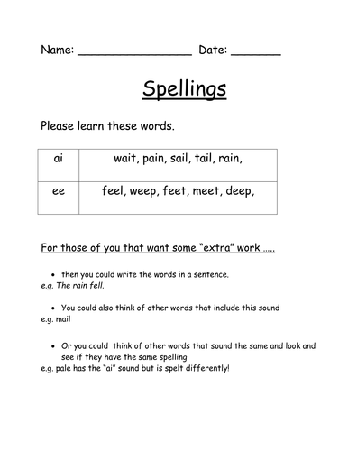 Spelling to take home