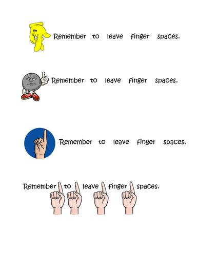 Finger Space Reminder Cards