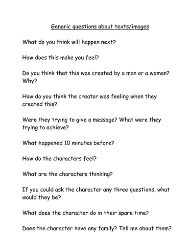 Guiding questions about texts/images