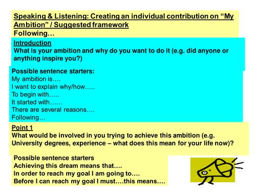Preparing a Speech - Ambition