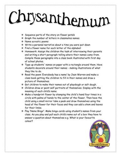 First week back activities - Chrysathemum
