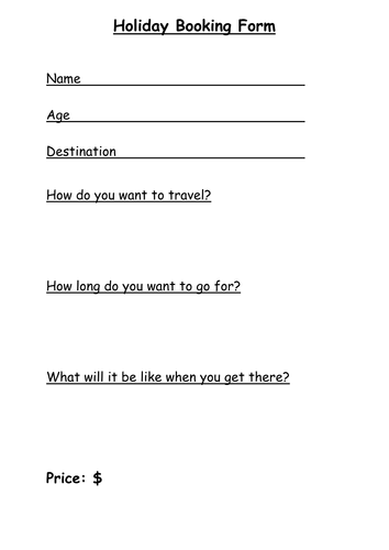 Holiday booking form -travel agents / space travel