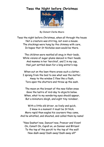 'Twas the Night before Christmas - Comprehension