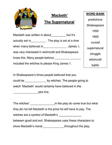 Macbeth: the supernatural - cloze activity