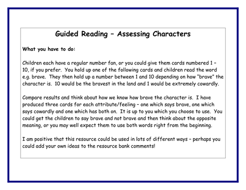 Assessing Characters - guided reading resource