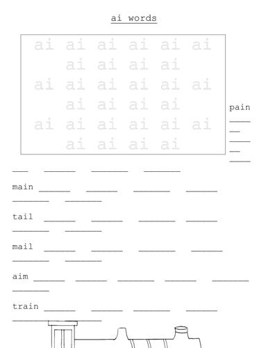 "'AI"" Words Worksheet"