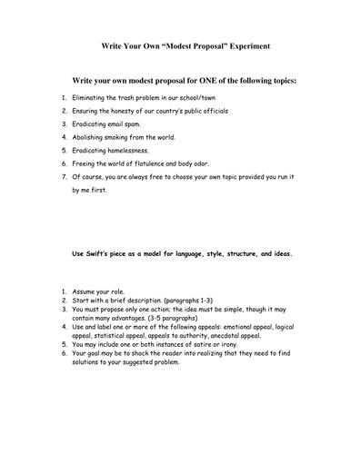 Modest Proposal By Melaniedawn36 Teaching Resources Tes