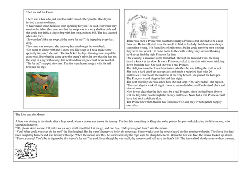Fable texts- identifying features of a fable