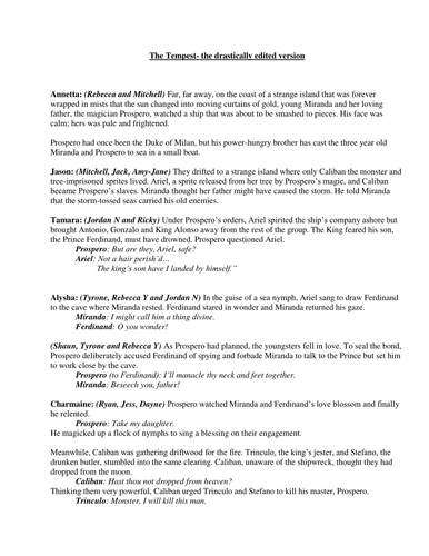 The Tempest adapted story/ script