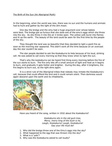 Birth of the Sun (Aboriginal Myth) Comprehension