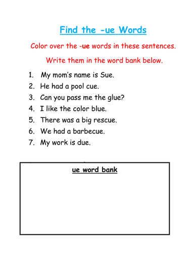 Phonics - Find and color the 'ue' words
