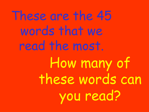 PowerPoint presentation of High Frequency words