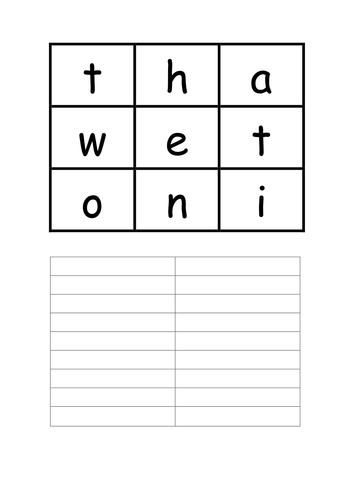 Boggle grid Games