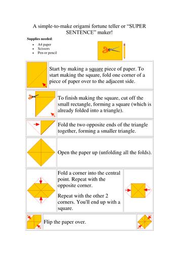 Super Sentence Maker (based on Origami Fortune Teller)