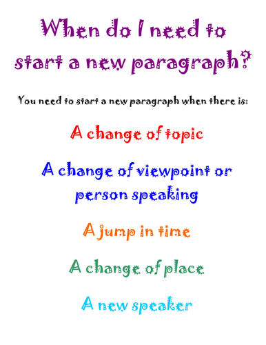 When do I need to start a new paragraph