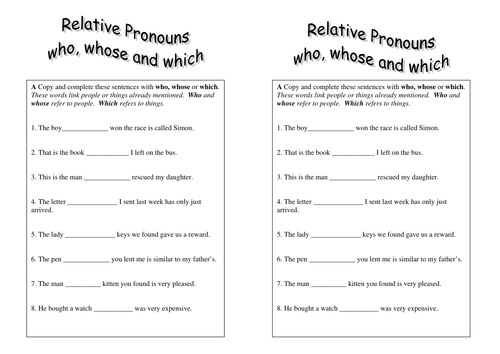Relative Pronouns worksheet year 5 by sparkles28 Teaching – Pronoun Worksheets 6th Grade