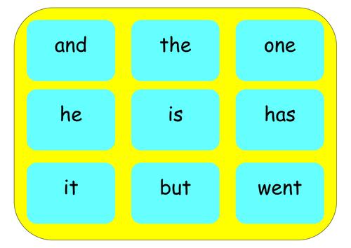 High frequency word bingo/match
