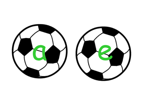 Phonemes displayed on soccer balls