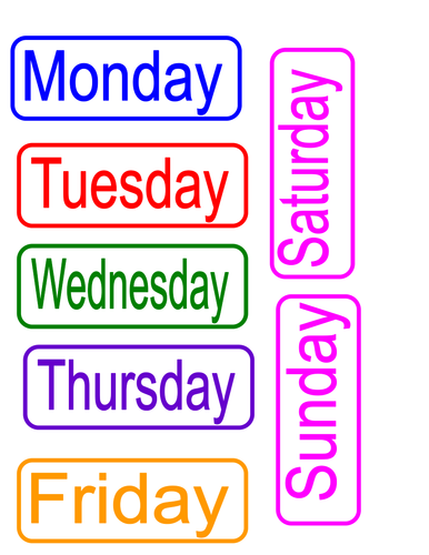 Individual days of the week cards
