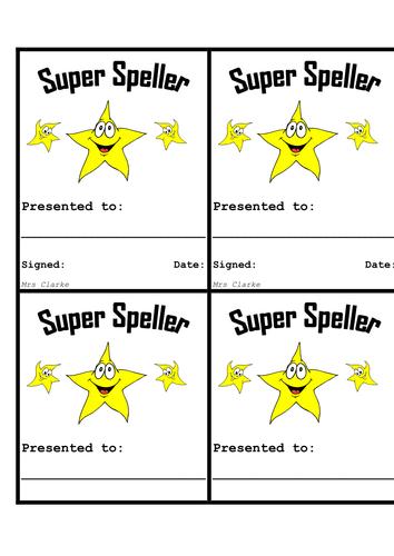 Super Speller Certificates