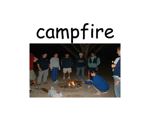 Photo & Word cards for camping theme