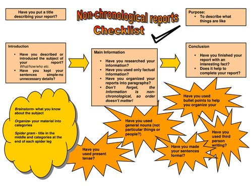 Image result for non chronological report checklist