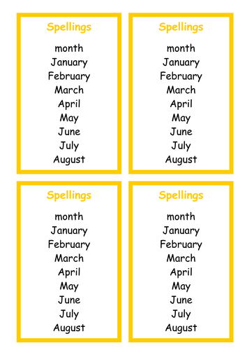 Charts/ Spellings - Months