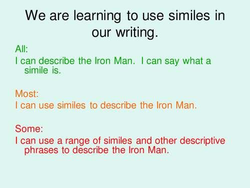 The Iron Man/Giant Similie work and resources