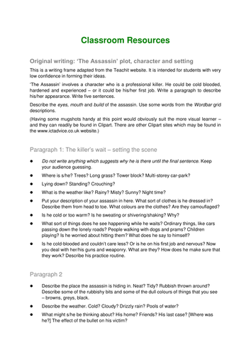 Plot; Characters and setting activity The Assassin