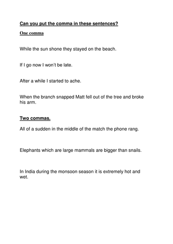 complex Sentences worksheet