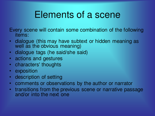 Elements of a scene