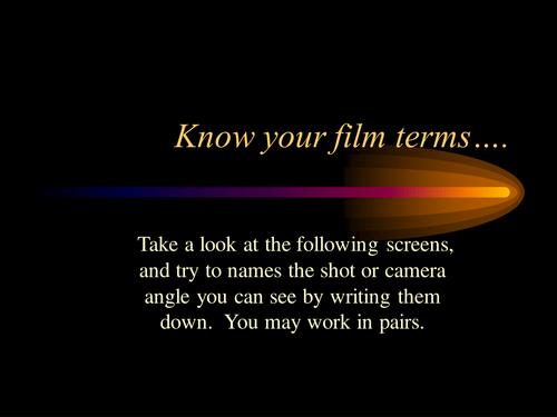 Baz Luhrmann's Romeo & Juliet PowerPoint of Camera Angles