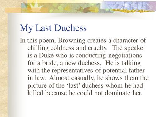 My Last Duchess Pre 1914 Poetry PowerPoint