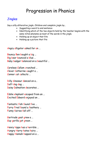 Jingles - sentence starters