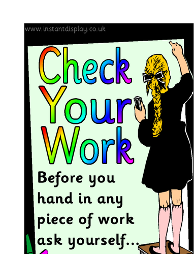 Check your work self assessment posters