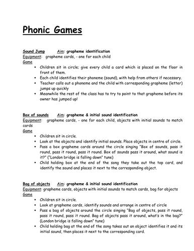 Short phonic games