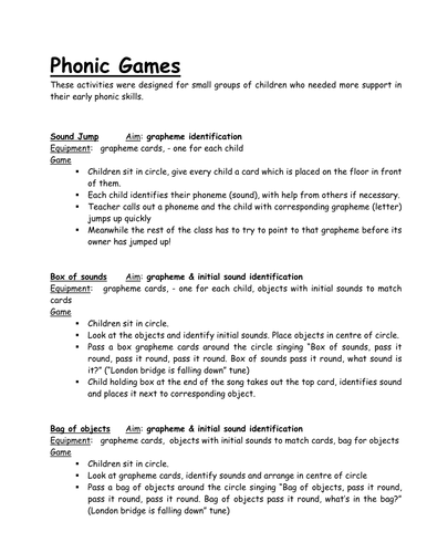 Phonic games