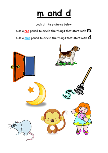Sort the m and d words by initial sound