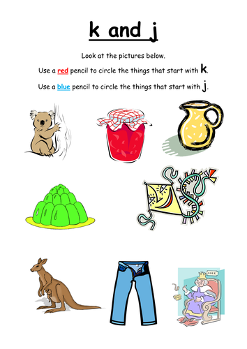 Sort the pictures by initial sounds k or j