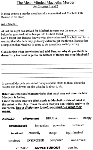 The Macbeths Murder Duncan: analysis of key scenes