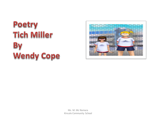Tich Miller by Wendy Cope