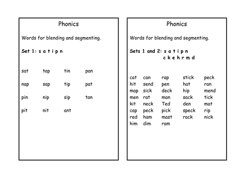 Words for blending and segmenting