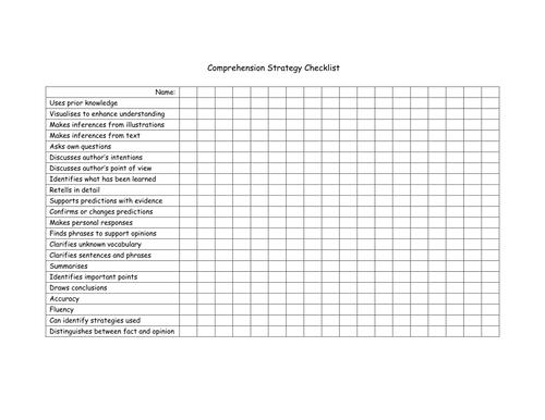 Comprehension Strategy Checklist