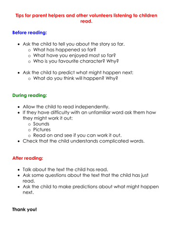 Suggestions for Reading Helpers