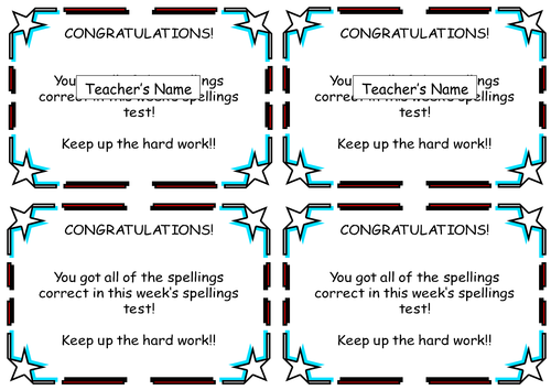 Spelling Test Certificates and Slips Home