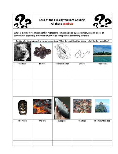 Lord Of The Flies Symbolism Task By Maz1 Teaching Resources Tes