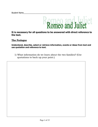 Romeo and Juliet APP style workbook
