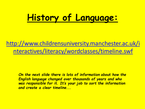 History of English Language - Non Verbal /Timeline