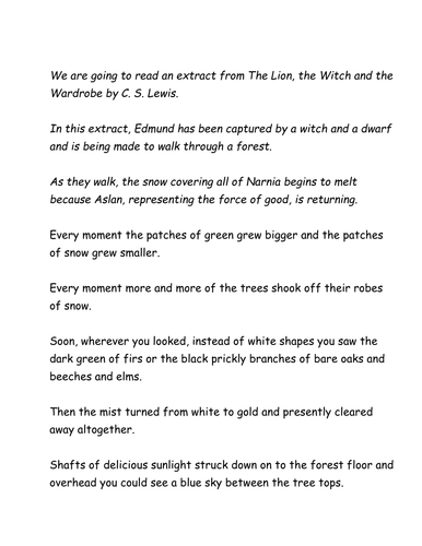 Extract from The Lion; The Witch and The Wardrobe